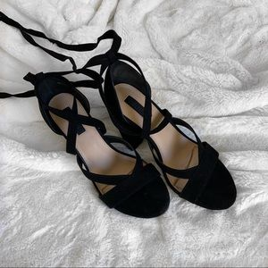Shoes - Faux Suede Lace Up Strappy Block Heels